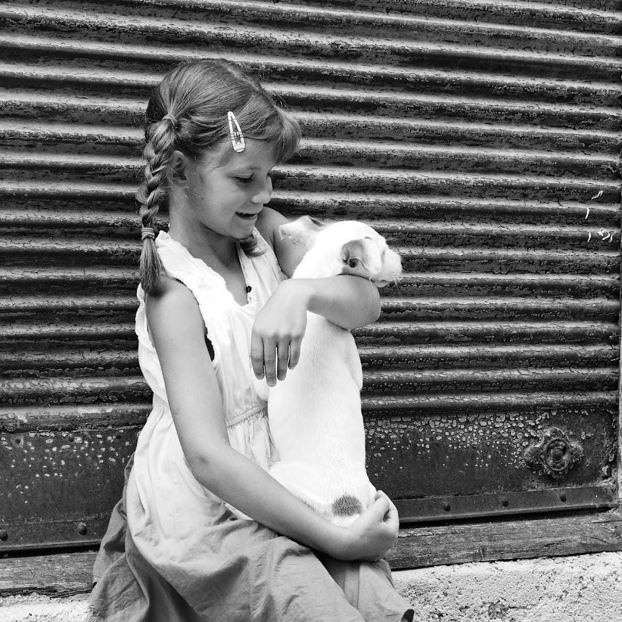 puppy love by Brut Carniollus - Babies & Children Children Candids ( children, kidsofsummer, black and white, portrait, dog )