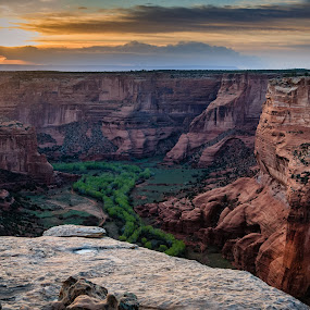 Sunset in Canyon de Chelly by Tim Monk - Landscapes Mountains & Hills