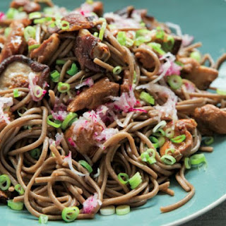 Soba Noodles With Shiitake Mushrooms And Radish.