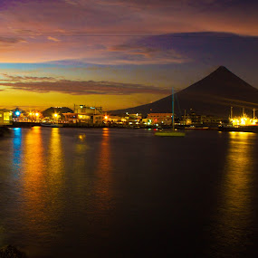Nightview from Embarcadero by Krizzel Almazora - Landscapes Waterscapes ( landscape mayon albay philippines photography )