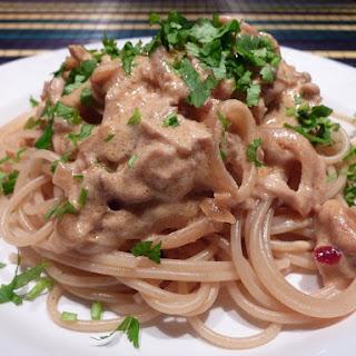 Roast Chicken and Mushroom Spaghetti.