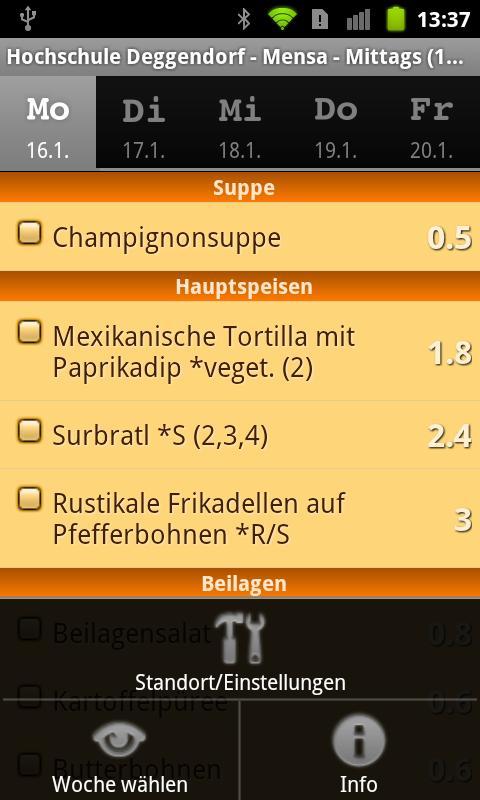 Mensa HS Deggendorf- screenshot