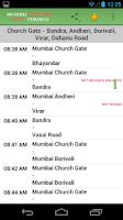 Screenshot of Mumbai Suburban Train Timings