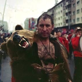 Mr.Bear by Vlad Zugravel - Public Holidays New Year's Eve ( bear, film, 5, fujicolor, tradition, praktica, romania, c200, mtl, dance, etnic )