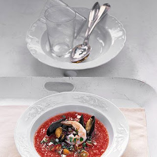 Gazpacho with Shrimp and Mussels.