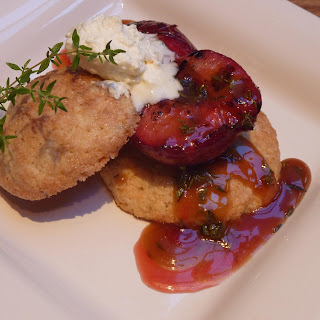 Grilled Pluots over Lemon-Thyme Shortcakes with a Honey-Thyme Caramel Sauce.