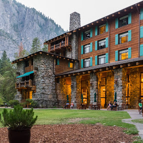 The Ahwahnee Hotel, Yosemite Valley by Adam Collins - Buildings & Architecture Other Exteriors ( national park, yosemite, cocktail hour, hotel, dusk, ahwahnee, living in style )