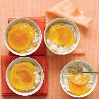 Vanilla Rice Puddings with Glazed Oranges.