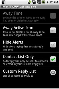 Txt Msg Away Message Lite- screenshot thumbnail