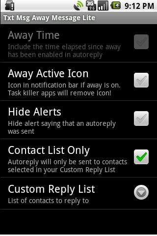 Txt Msg Away Message Lite - screenshot