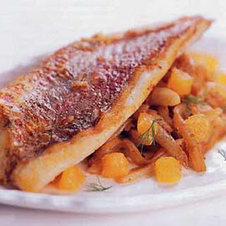 Sauteed Red Snapper Fillets with Fennel and Orange.