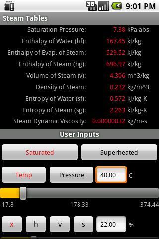 Steam Tables- screenshot