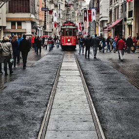 The tram by Philip McKibbin - Instagram & Mobile iPhone ( passengers, red, rails, carriage, coach, street, train, tram, tracks, road, people )