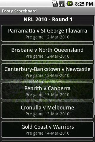 Footy Scoreboard - screenshot