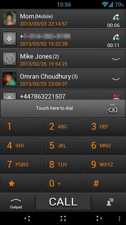 GO Contacts ICS Grey Theme - screenshot