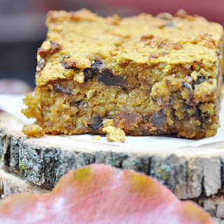 Vegan, Gluten Free Chocolate Chip Pumpkin Blondies