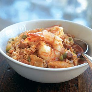 Jambalaya with Shrimp, Chicken and Ham