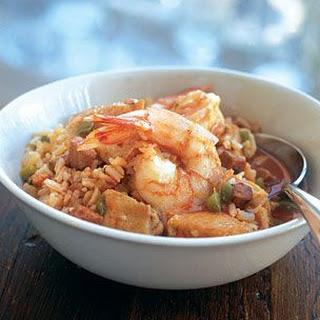 Jambalaya with Shrimp, Chicken and Ham
