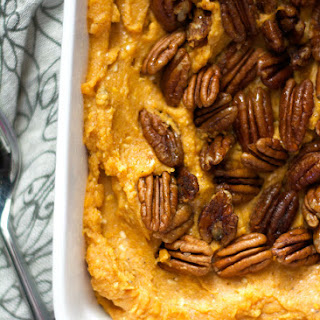 Smoked Gouda and Sweet Potato Casserole with Spiced Pecans
