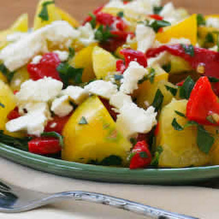 Yellow Tomato Salad with Roasted Red Pepper, Feta, and Mint.