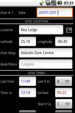 SCUBA Log- screenshot