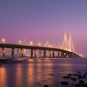 sealink mumbai by Amol Patil - Buildings & Architecture Bridges & Suspended Structures ( mumbai;sealink;sunset;color;twilight )