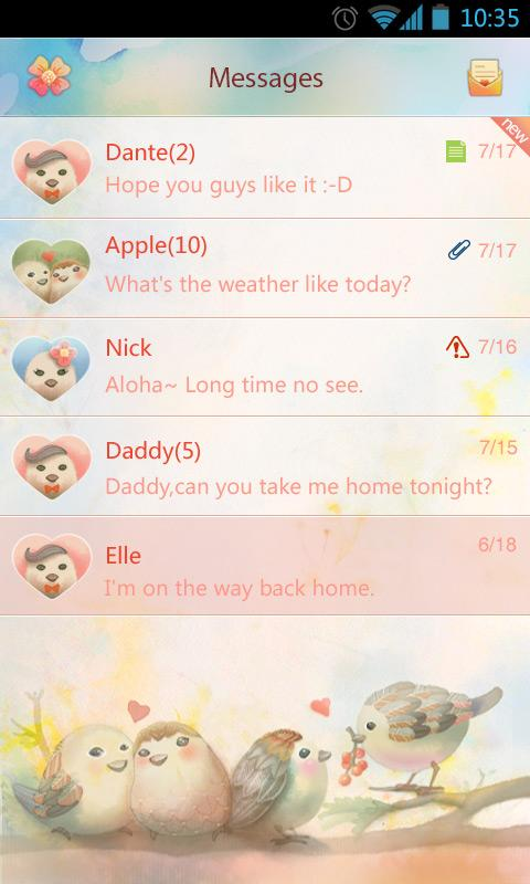 GO SMS Pro Lovebird Theme EX - screenshot