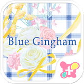 Flower Theme-Blue Gingham-
