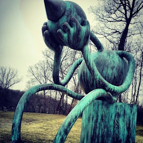 The Crying Giant by Dianne Collins - Instagram & Mobile Android ( bronze, sculpture, patina, sad, art, giant )