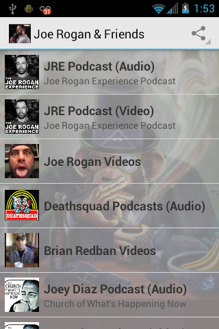 Joe Rogan & Friend's Podcasts- screenshot