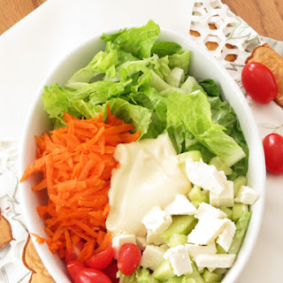 Feta Carrot Salad with Honey Mustard Dressing.