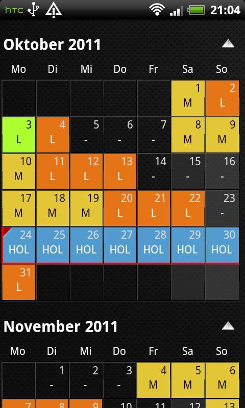 shift calendar- screenshot