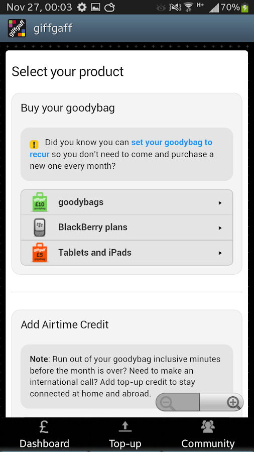 giffgaff app - screenshot