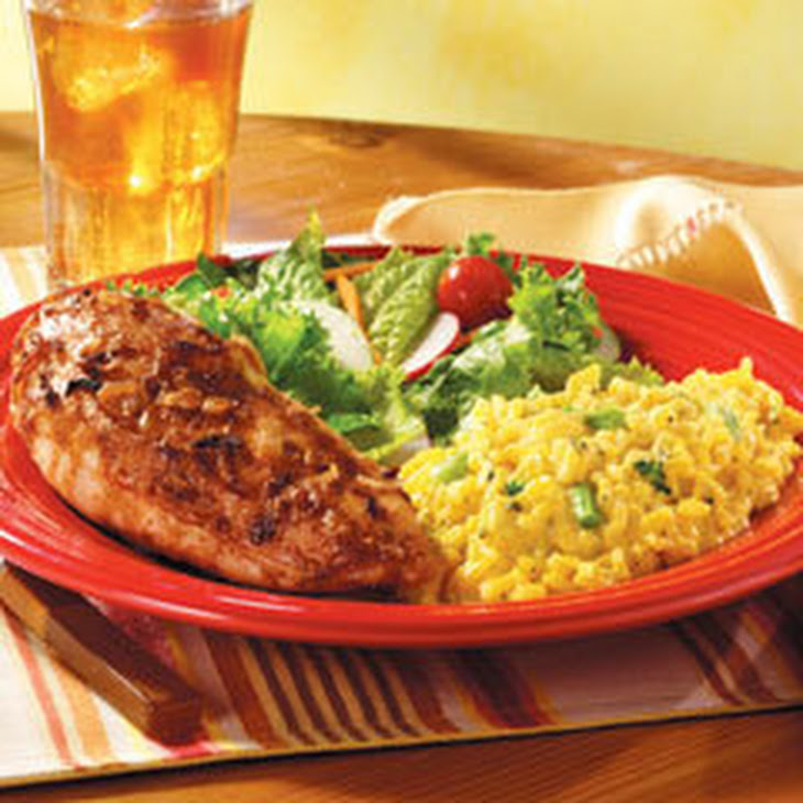 Roasted Chicken Au Jus with Cheddar Broccoli Rice Recipe