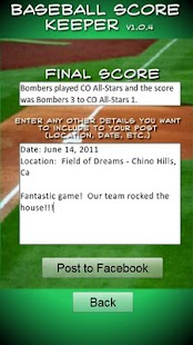 Baseball/Softball Score Keeper- screenshot thumbnail