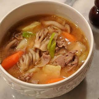 Tonjiru ~ Japanese Pork and Vegetable Miso Soup.