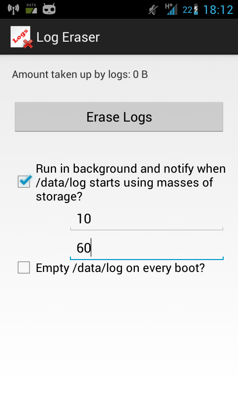 Log Eraser - screenshot