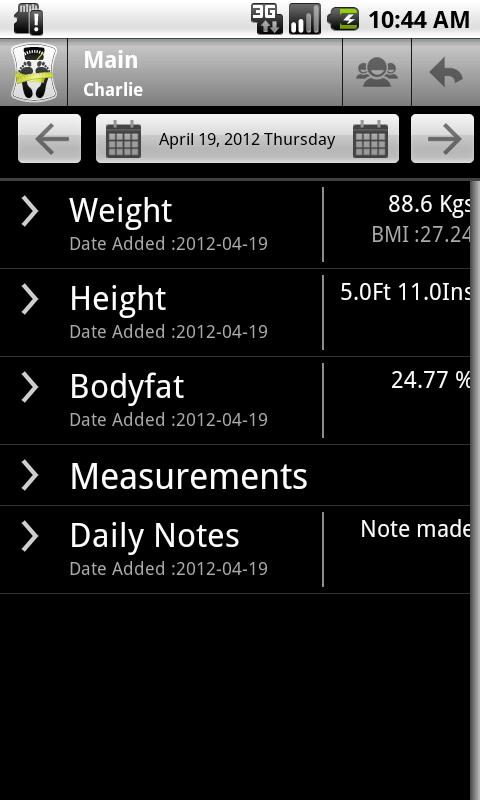 Body & Weight Monitor - screenshot