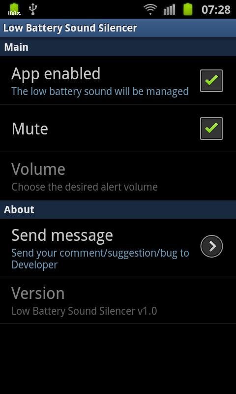 Low Battery Sound Silencer - screenshot