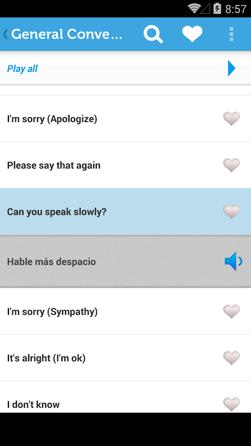 Learn Spanish Phrasebook - screenshot