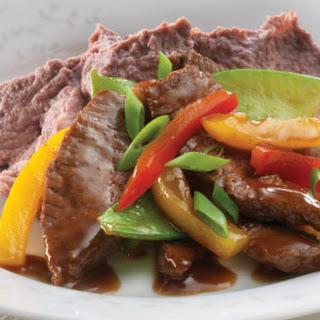 Adzuki Bean Hummus with Spiced Beef Stir-Fry