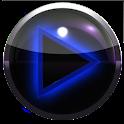 poweramp skin glow blue icon