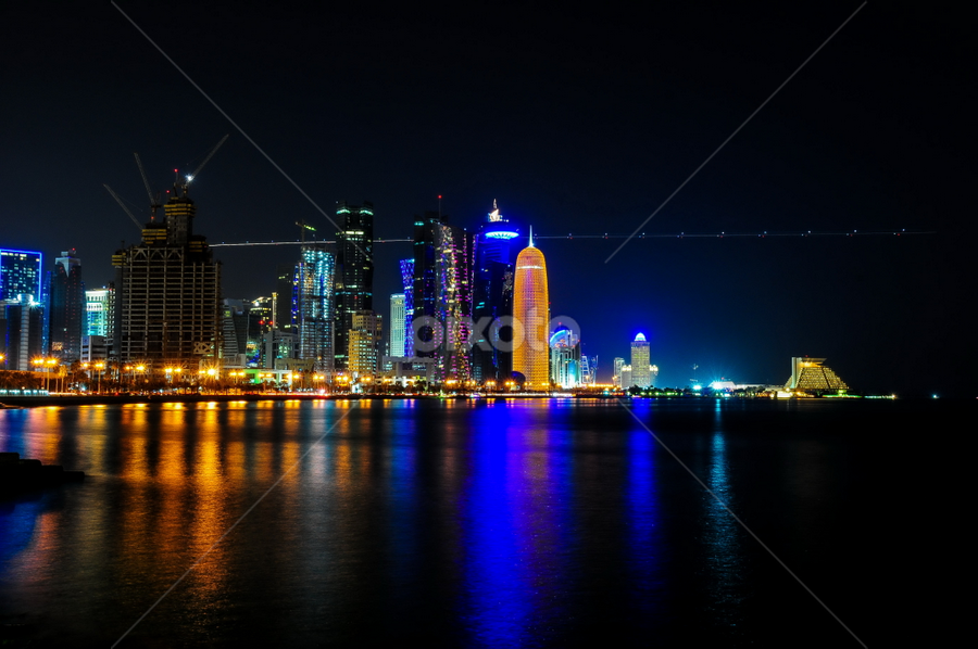 Doha, Corniche by John Anthony - City,  Street & Park  Skylines