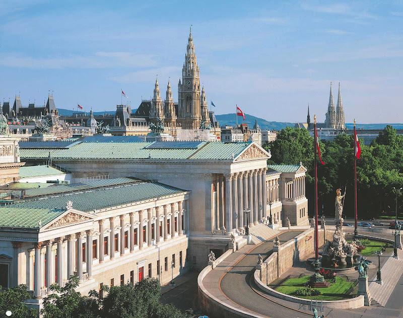 The Austrian Parliament building in Vienna, Austria.