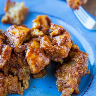 Pumpkin Cinnamon Overnight Pull-Apart French Toast with Vanilla Maple Butter.
