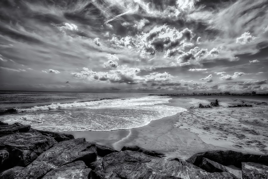 Lazy Summer Afternoon at the Beach by Linda Karlin - Black & White Landscapes ( b&w, summer, beach, seascape, landscape )