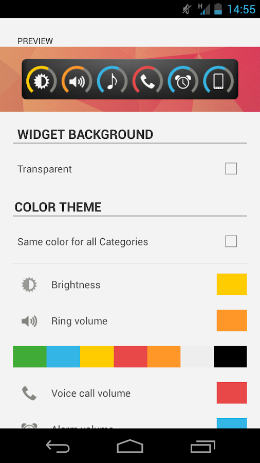 Slider Widget - Volumes - screenshot