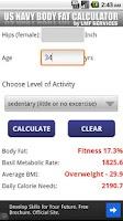 Screenshot of US  NAVY Body Fat Calculator