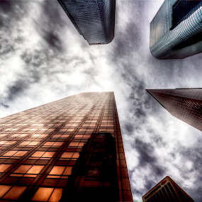 I stand before you... by Brandon Chapman - Buildings & Architecture Office Buildings & Hotels ( clouds, skyscrapers, buildings, los angeles, downtown )