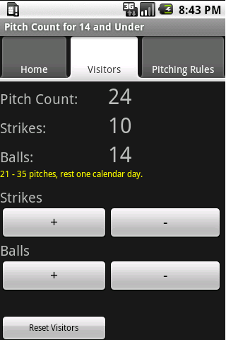 Baseball Pitch Counter 8 to 14 - screenshot